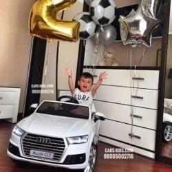 Электромобиль Audi Q7 S-line белый (колеса резина, сиденье кожа, пульт, музыка)