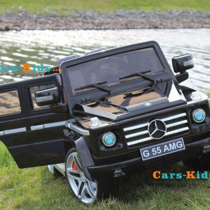 Электромобиль Mercedes-Benz G55 AMG черный (сиденье кожа, колеса резина, музыка, пульт)